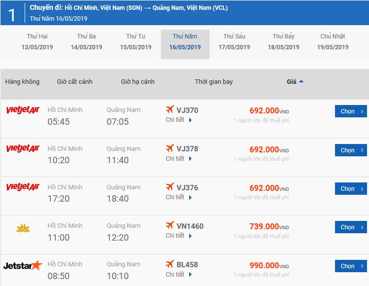 Vé máy bay từ Pleiku đi Chu Lai của Bamboo Airways