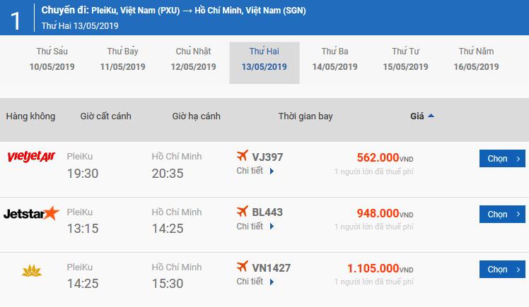 Bảng giá vé máy bay Pleiku Đồng Hới