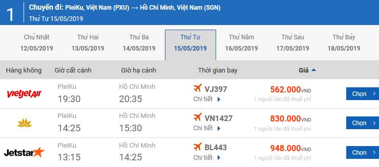 Bảng giá vé máy bay Pleiku Huế