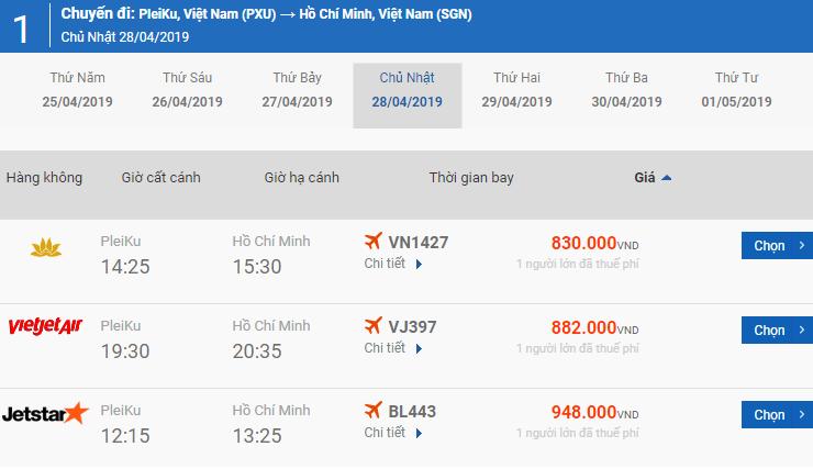 Bảng giá vé máy bay Pleiku Phú Quốc