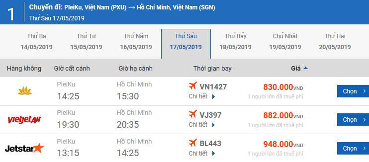 Bảng giá vé máy bay Pleiku Vân Đồn