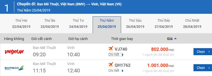 Vé máy bay từ Pleiku đi Vinh của Bamboo Airways